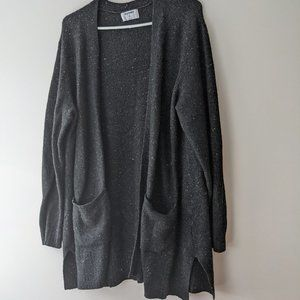 Old Navy Flecked Knitted Long Line Open Front Sweater Charcoal Grey Size XL